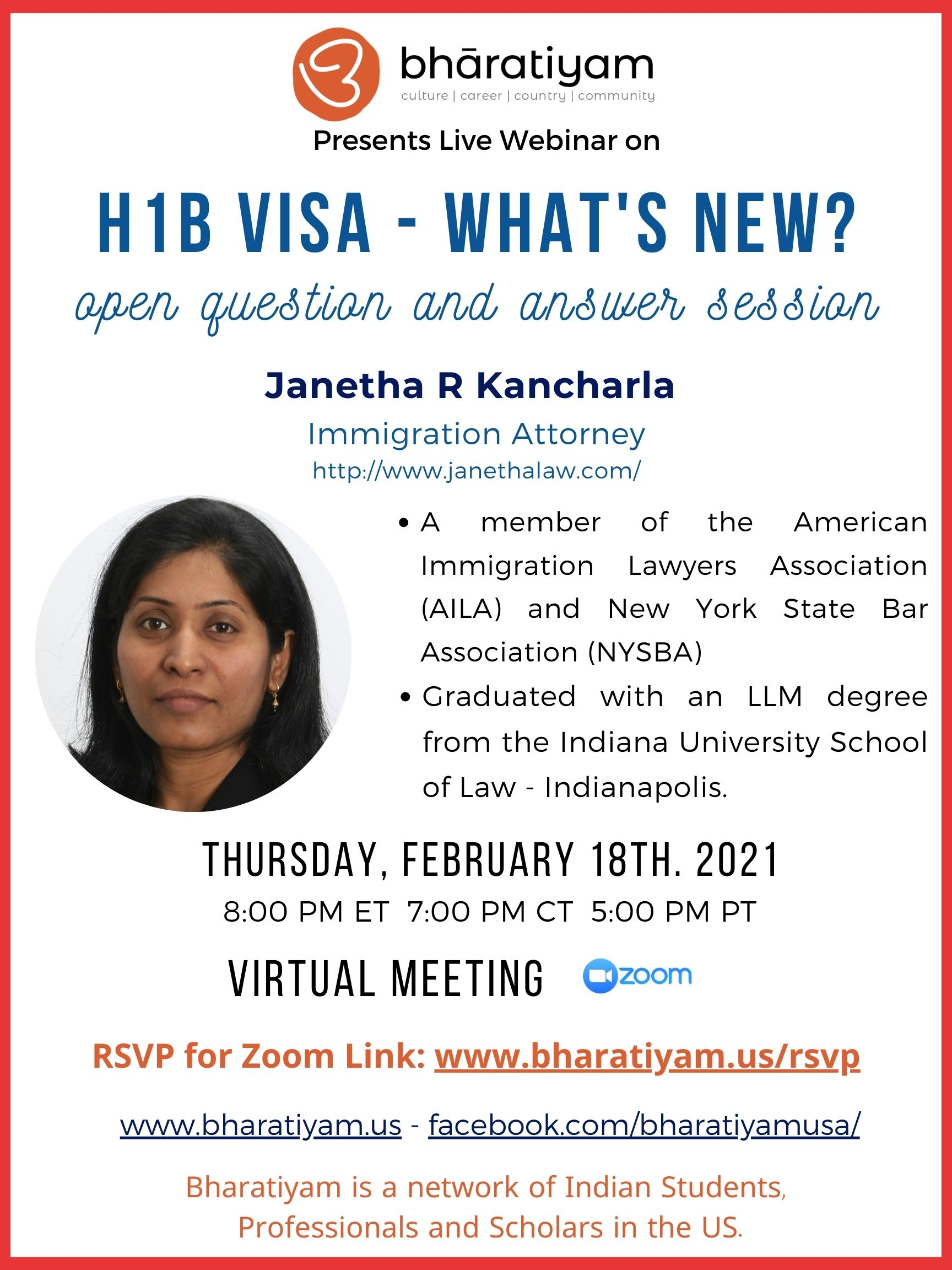 Bharatiyam: H1B Seminar- What's New - Open Q&A